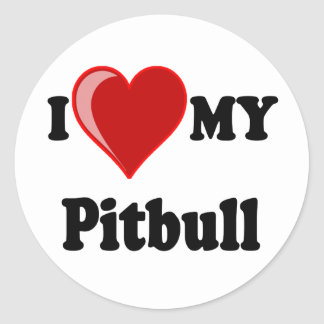 I Love (Heart) My Pitbull Dog Classic Round Sticker