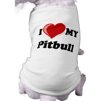 I Love (Heart) My Pitbull Dog Sleeveless Dog Shirt