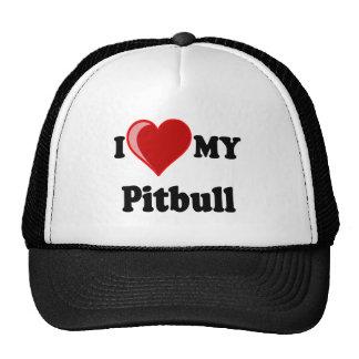 I Love (Heart) My Pitbull Dog Hats