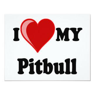 I Love (Heart) My Pitbull Dog Invite