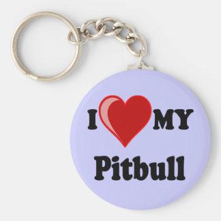 I Love (Heart) My Pitbull Dog Keychains