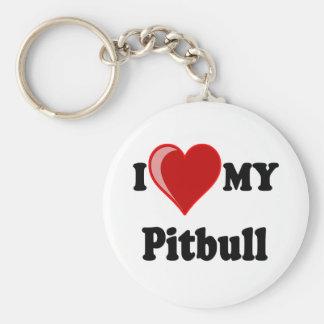 I Love (Heart) My Pitbull Dog Basic Round Button Key Ring