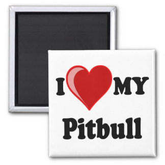 I Love (Heart) My Pitbull Dog Square Magnet