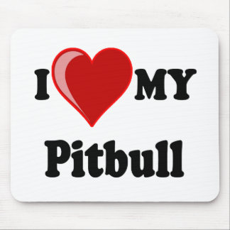 I Love (Heart) My Pitbull Dog Mouse Pad