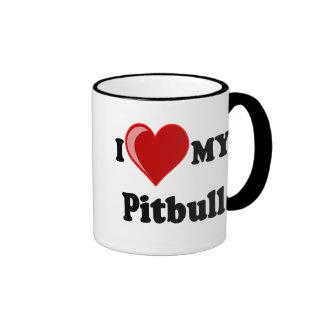 I Love (Heart) My Pitbull Dog Mugs