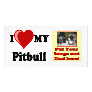 I Love Heart My Pitbull Dog Picture Card
