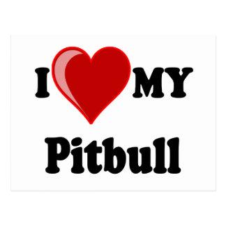 I Love (Heart) My Pitbull Dog Postcard