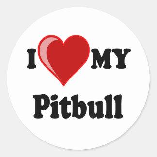 I Love (Heart) My Pitbull Dog Round Sticker