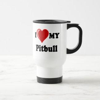I Love (Heart) My Pitbull Dog Stainless Steel Travel Mug