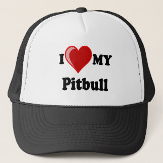 I Love (Heart) My Pitbull Dog Trucker Hat
