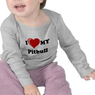 I Love (Heart) My Pitbull Dog Tee Shirts