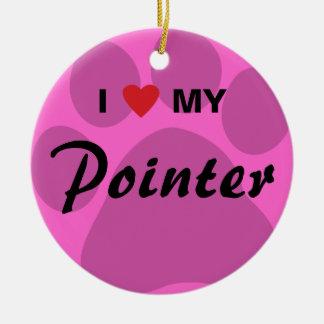I Love (Heart) My Pointer Pawprint Round Ceramic Decoration