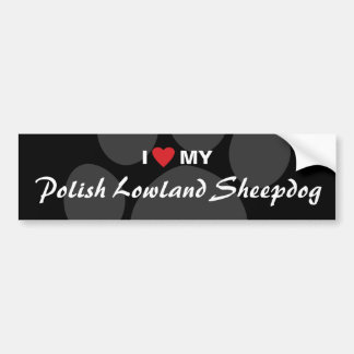 I Love (Heart) My Polish Lowland Sheepdog Bumper Sticker