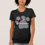 I Love (Heart) My Pomeranian Pawprint Tee Shirts