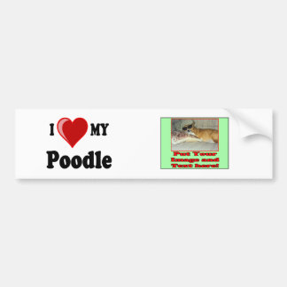 I Love (Heart) My Poodle Dog Bumper Sticker
