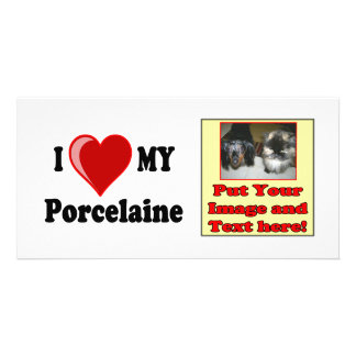 I Love Heart My Porcelaine Dog Picture Card