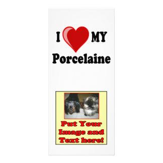 I Love (Heart) My Porcelaine Dog Customized Rack Card