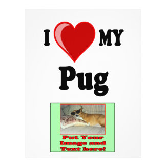 I Love (Heart) My Pug Dog 21.5 Cm X 28 Cm Flyer