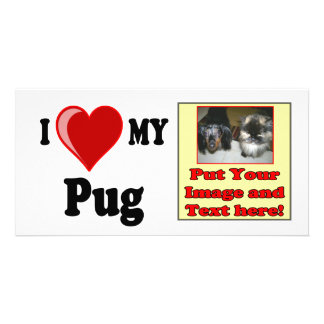 I Love Heart My Pug Dog Personalized Photo Card