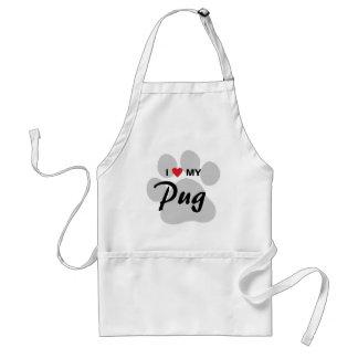 I Love (Heart) My Pug Pawprint Adult Apron