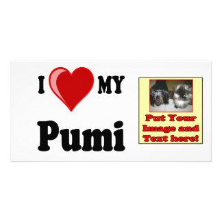 I Love Heart My Pumi Dog Photo Card Template