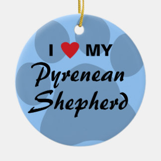 I Love (Heart) My Pyrenean Shepherd Double-Sided Ceramic Round Christmas Ornament