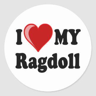 I Love (Heart) My Ragdoll Cat Classic Round Sticker