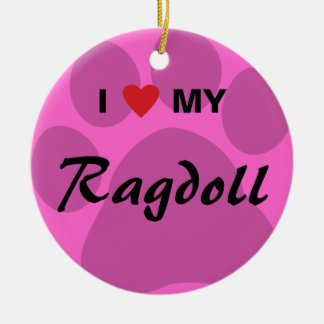 I Love (Heart) My Ragdoll Cat Pawprint Christmas Ornament