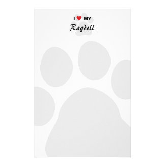 I Love Heart My Ragdoll Cat Pawprint Personalized Stationery