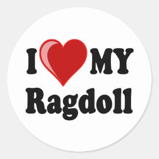 I Love (Heart) My Ragdoll Cat Round Sticker