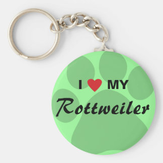 I Love (Heart) My Rottweiler Pawprint Key Ring