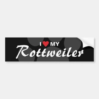 I Love (Heart) My Rottweiler (Rottie) Breed Bumper Sticker
