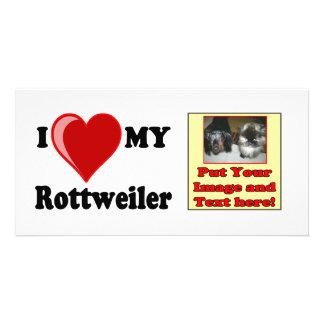 I Love (Heart) My Rottweiler Water Dog Customized Photo Card