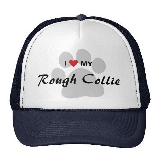 I Love (Heart) My Rough Collie Pawprint Hat