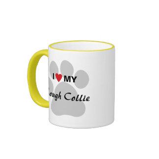 I Love (Heart) My Rough Collie Pawprint Ringer Mug