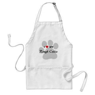 I Love (Heart) My Rough Collie Pawprint Standard Apron