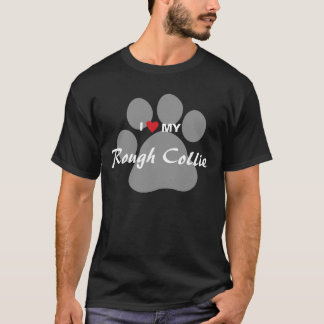 I Love (Heart) My Rough Collie Pawprint T-Shirt