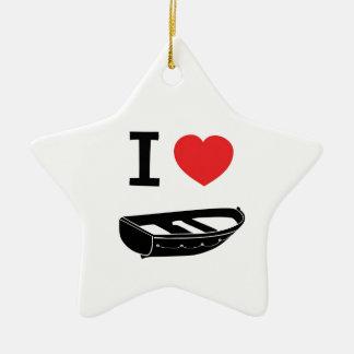 I love heart my rowing / row boat ceramic star decoration