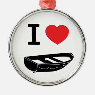 I love heart my rowing / row boat christmas ornament