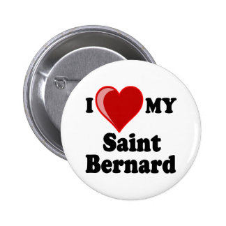 I Love Heart My Saint Bernard Dog Pinback Button