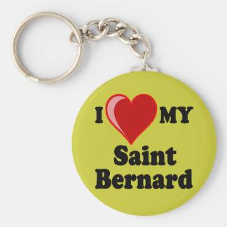 I Love (Heart) My Saint Bernard Dog Basic Round Button Key Ring