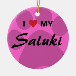 I Love (Heart) My Saluki Paw Print Round Ceramic Decoration