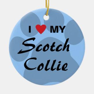I Love (Heart) My Scotch Collie Pawprint Round Ceramic Decoration