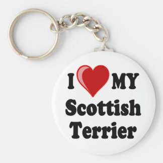 I Love (Heart) My Scottish Terrier Dog Gifts Basic Round Button Key Ring
