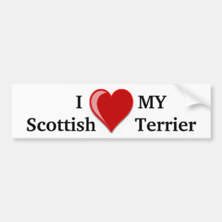 I Love (Heart) My Scottish Terrier Dog Gifts Bumper Sticker