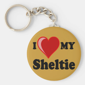 I Love (Heart) My Sheltie Dog Basic Round Button Key Ring