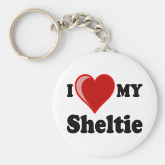 I Love (Heart) My Sheltie Dog Key Ring