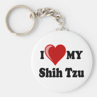 I Love (Heart) My Shih Tzu Dog Basic Round Button Key Ring