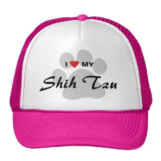 I Love (Heart) My Shih Tzu Pawprint Cap