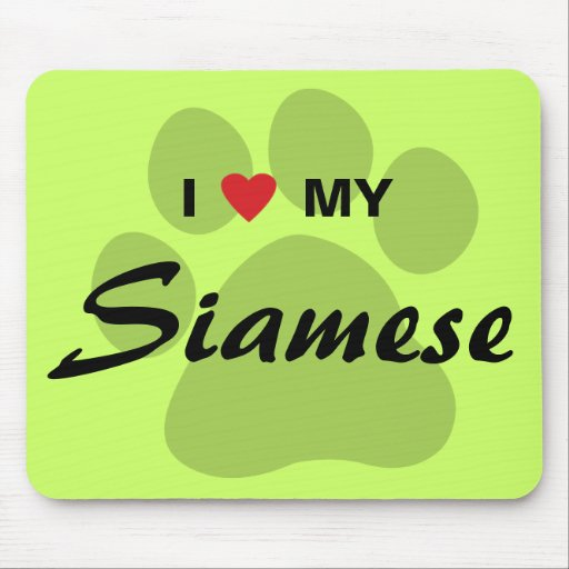 I Love (Heart) My Siamese Cat Pawprint Mousepad